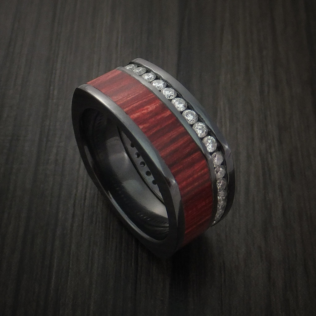 Black Zirconium Diamond Eternity Squared Band with Cocobolo Hard Wood Custom Made