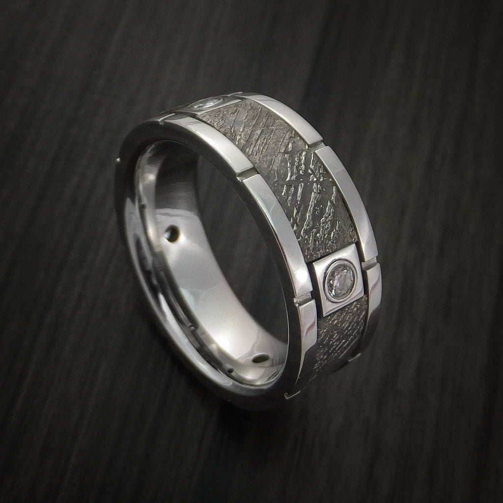 Cobalt Chrome Gibeon Meteorite Ring with Diamonds Custom Made Band by Revolution Jewelry