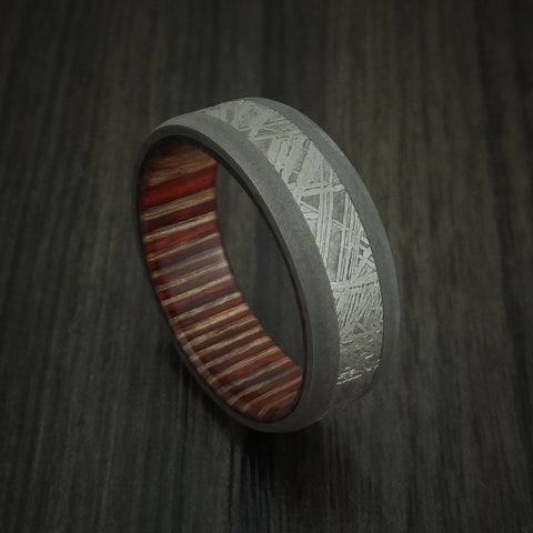 Titanium and Gibeon Meteorite Band with English Oak Wood Sleeve Custom Made Band