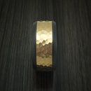 Black Zirconium Ring with Wide 14K Yellow Gold Hammered Inlay Custom Made Band