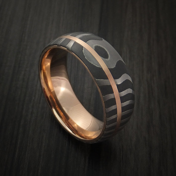 Damascus Steel Tiger Pattern 14K Rose Gold Ring Wedding Band Custom Made