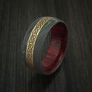 Damascus Steel Celtic Ring with 14K Yellow Gold Inlay and Hardwood Sleeve Custom Made Band
