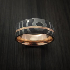 Damascus Steel Tiger Pattern 14K Rose Gold Ring Wedding Band Custom Made - Revolution Jewelry  - 2
