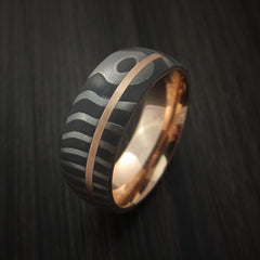 Damascus Steel Tiger Pattern 14K Rose Gold Ring Wedding Band Custom Made - Revolution Jewelry  - 3