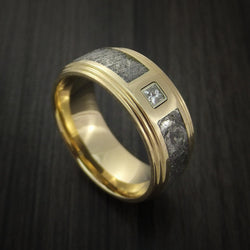 14K Yellow Gold and Meteorite Ring with Beautiful Diamond Custom Made