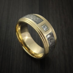 14K Yellow Gold and Meteorite Ring with Beautiful Diamond Custom Made by Revolution Jewelry
