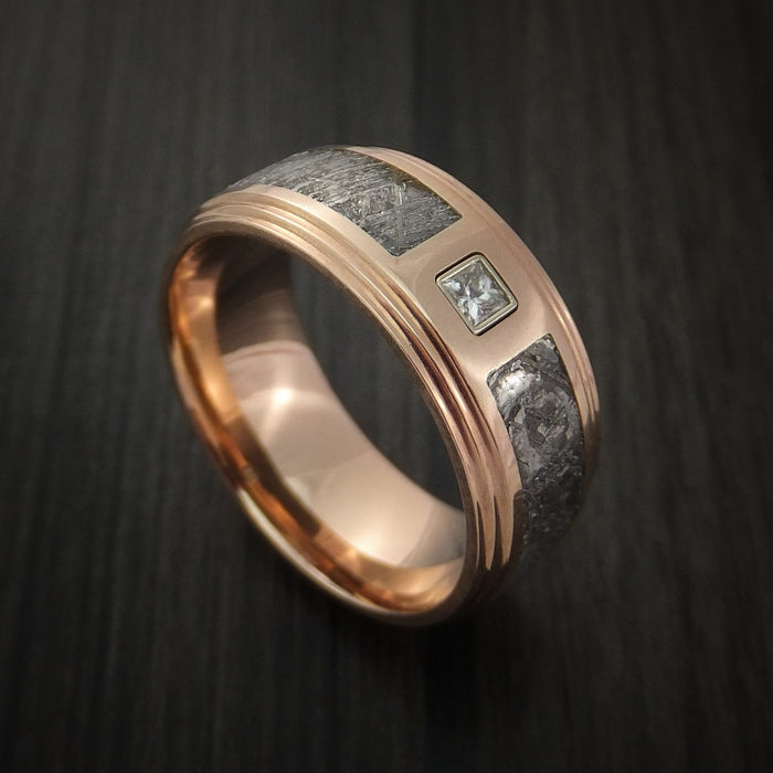 14K Rose Gold and Meteorite Ring with Beautiful Diamond Custom Made