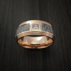 14K Rose Gold and Meteorite Ring with Beautiful Diamond Custom Made - Revolution Jewelry  - 2