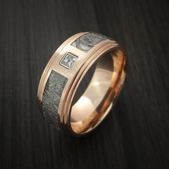 14K Rose Gold and Meteorite Ring with Beautiful Diamond Custom Made - Revolution Jewelry  - 3