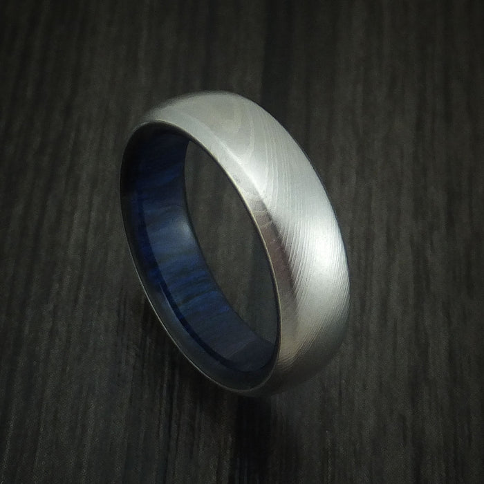 Damascus Steel Ring with Blueberry Wood Interior Sleeve Custom Made