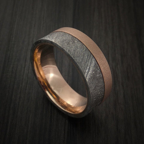 Gibeon Meteorite and 18k Rose Gold Band Custom Made