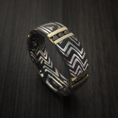 Damascus Steel Zebra Pattern Ring with 14K Gold and Black Diamonds Custom Made Band - Revolution Jewelry  - 1