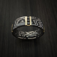 Damascus Steel Zebra Pattern Ring with 14K Gold and Black Diamonds Custom Made Band