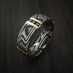 Damascus Steel Zebra Pattern Ring with 14K Gold and Black Diamonds Custom Made Band - Revolution Jewelry  - 3