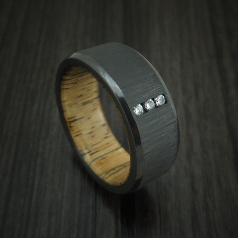 Black Zirconium and Diamond Ring with Spalted Tamarind Wood Sleeve Custom Made Band