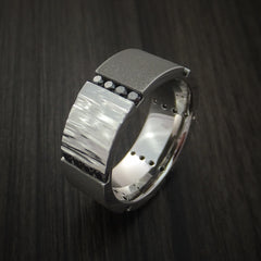Cobalt Chrome Band with Two Tone Finish and 24 Black Diamonds