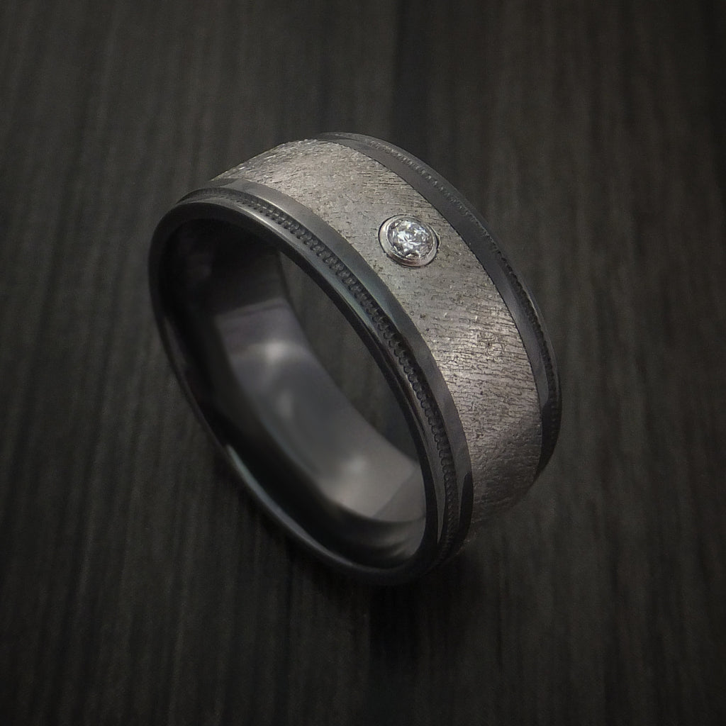 Black Zirconium and Gibeon Meteorite Ring with Diamond Custom Made Band