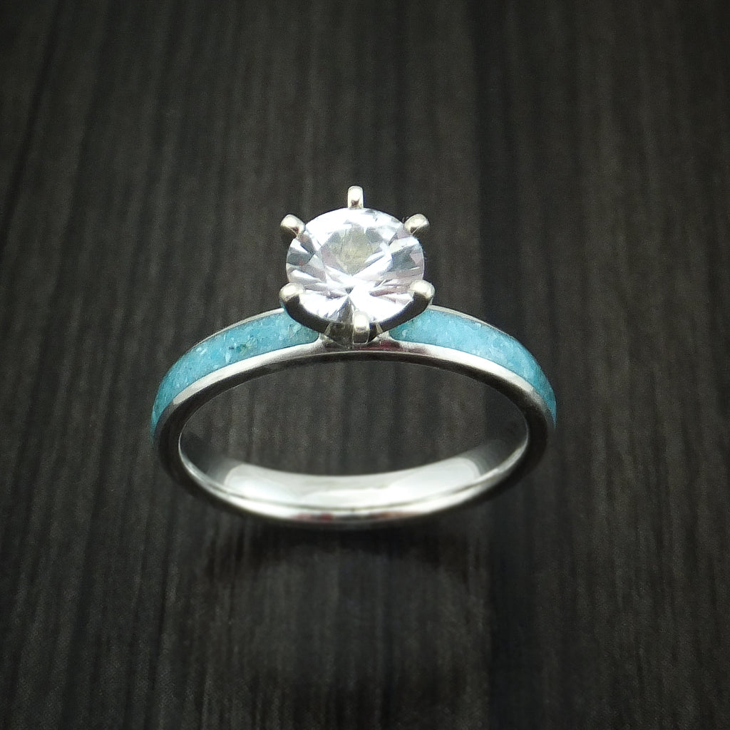 Cobalt Chrome and White Sapphire Engagement Ring with Turquoise Inlay Custom Made