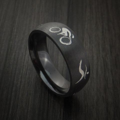 Black Zirconium Triathlon Band Custom Made Ring