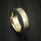 Black Carbon Fiber and 14K Yellow Gold Band Custom Made Ring
