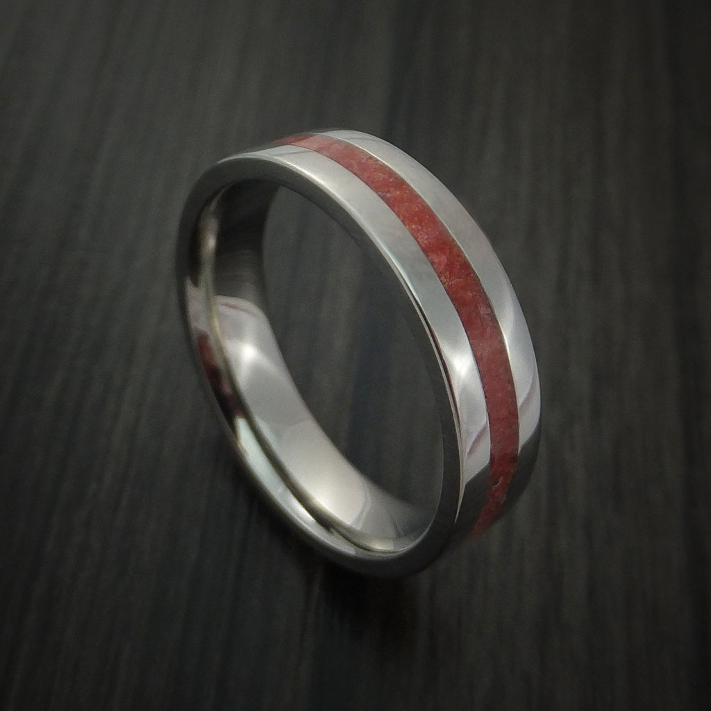Titanium Ring with Coral Inlay Custom Made Band - Revolution Jewelry  - 1