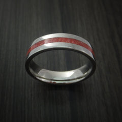 Titanium Ring with Coral Inlay Custom Made Band - Revolution Jewelry  - 2