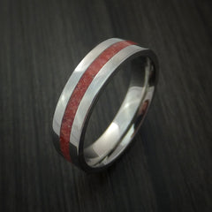 Titanium Ring with Coral Inlay Custom Made Band - Revolution Jewelry  - 3
