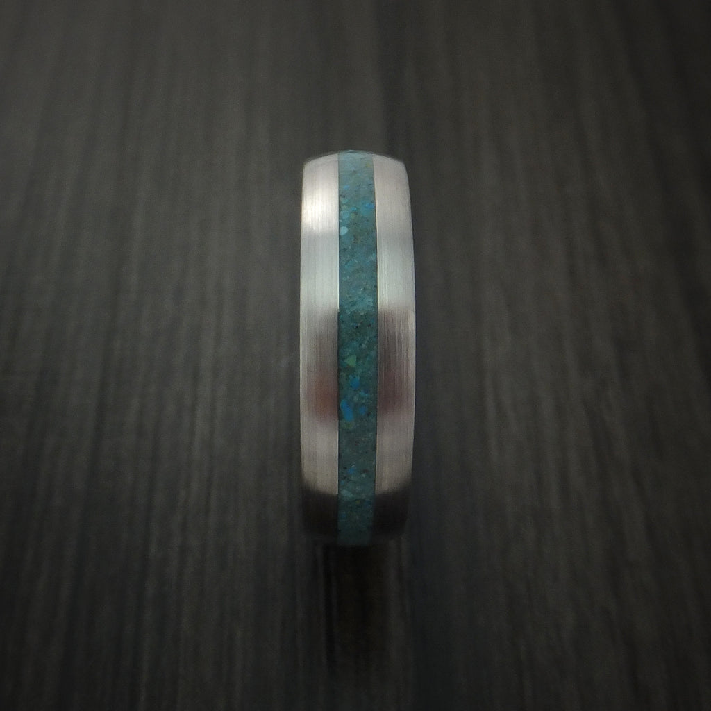 Titanium Ring with Turquoise Inlay Custom Made Band