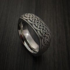 Square Titanium Celtic Band with Knot Design Custom Made - Revolution Jewelry  - 1