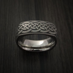 Square Titanium Celtic Band with Knot Design Custom Made - Revolution Jewelry  - 2
