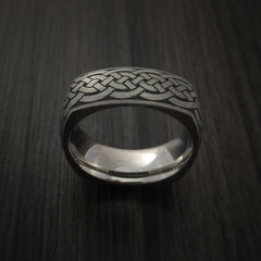 Square Titanium Celtic Band with Knot Design Custom Made - Revolution Jewelry  - 3