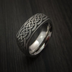 Square Titanium Celtic Band with Knot Design Custom Made - Revolution Jewelry  - 5