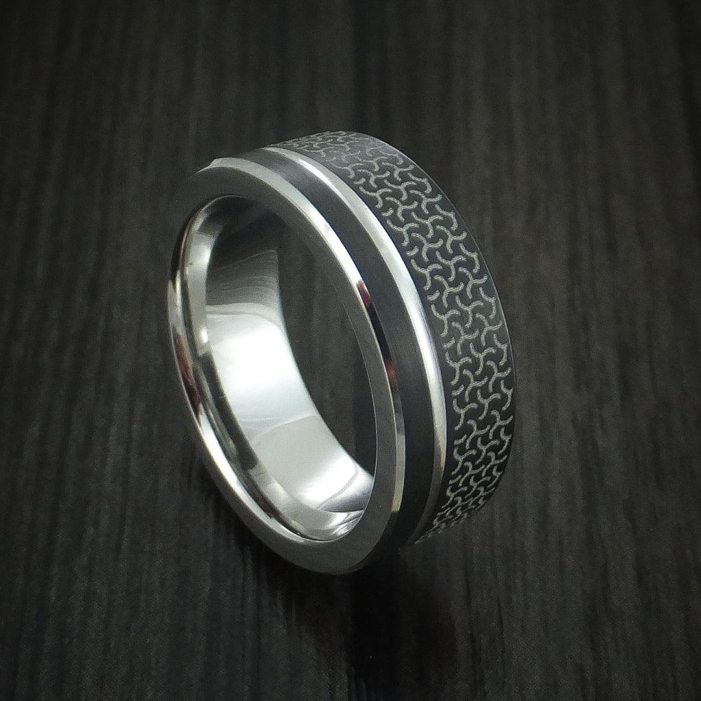 Cobalt and Black Cobalt Band Custom Made Two-Tone Ring