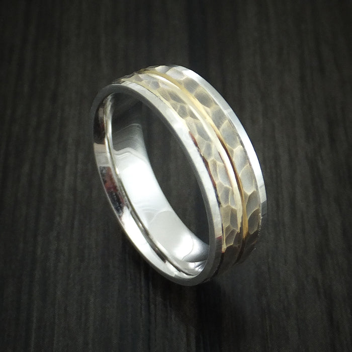 Silver and 14K Gold Hammered Band Custom Made