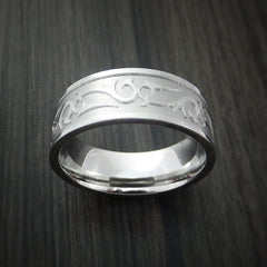 Cobalt Chrome Ring with Unique Laser Pattern Custom Made Band
