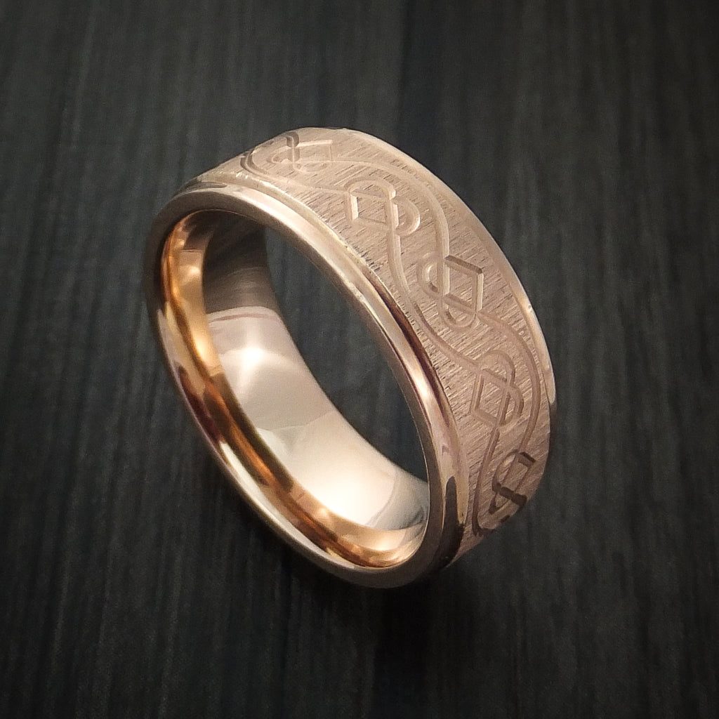 14K Rose Gold Ring with Celtic Heart Design Custom Made Band by Revolution Jewelry