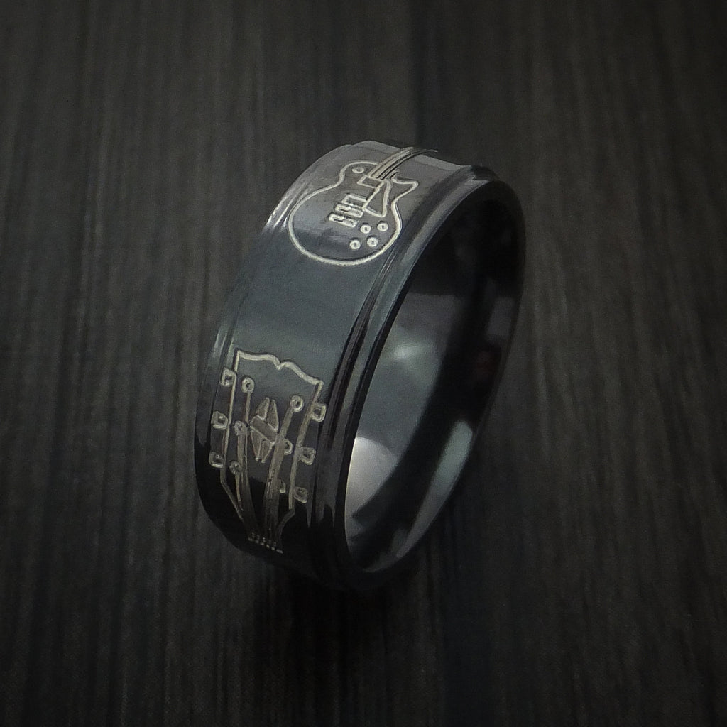 Black Zirconium with Guitars Design Musicians Custom Ring