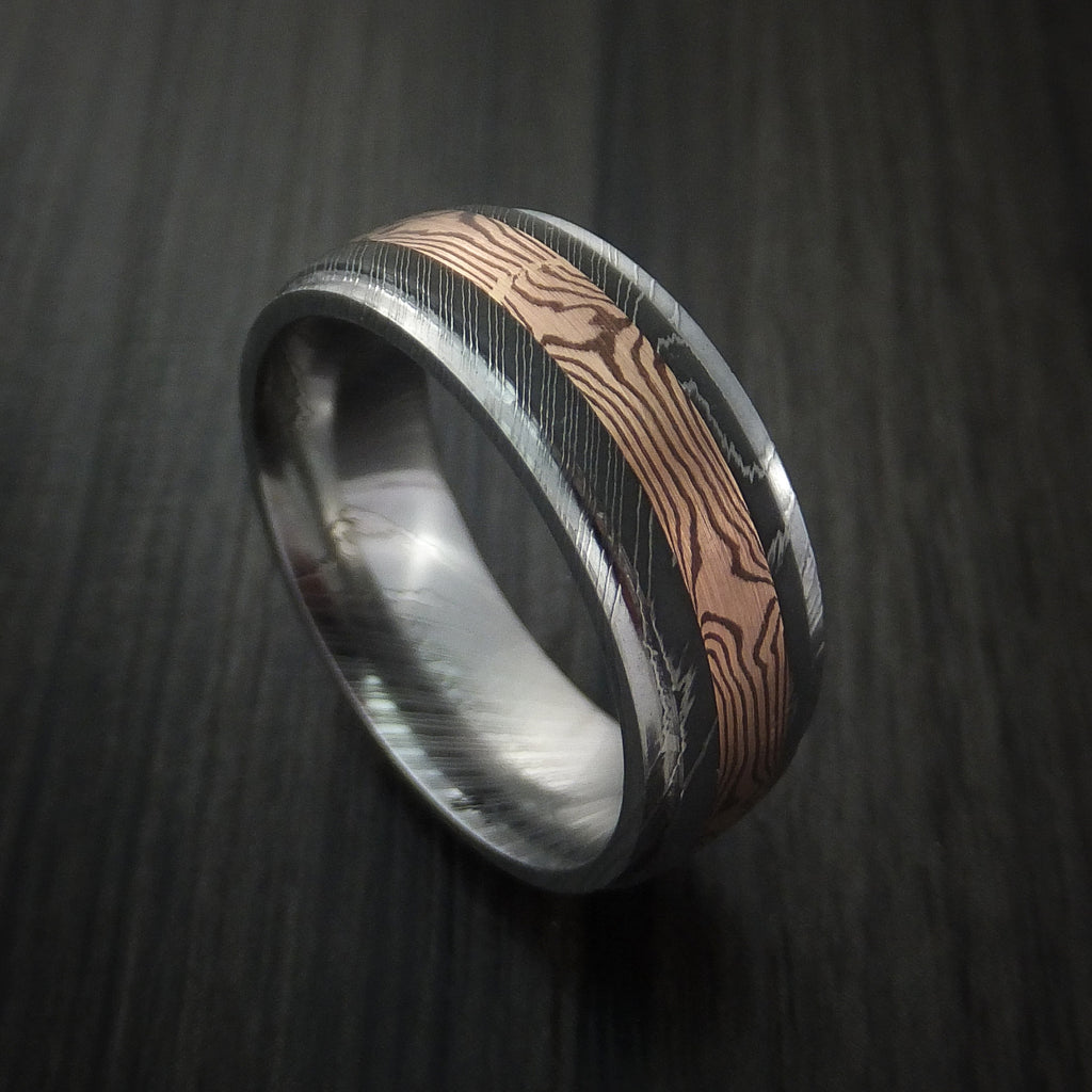 Damascus Steel and 14k Rose Gold Mokume Gane Ring Custom Made by Revolution Jewelry