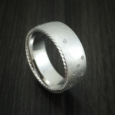 Platinum and Diamond Band Custom Made with Distressed Finish