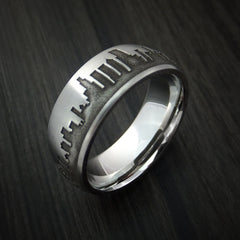 Cobalt Chrome Ring with Chicago Skyline Cityscape Custom Made Band by Revolution Jewelry