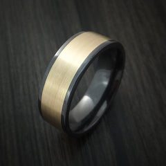 Black Zirconium Ring with Wide 14K Yellow Gold Inlay Custom Made Band by Revolution Jewelry