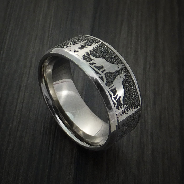 Titanium Ring with Wolf and Mountain Pattern Hunter Band Custom Made