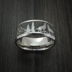 Titanium Ring with Wolf and Mountain Pattern Hunter Band Custom Made - Revolution Jewelry  - 2