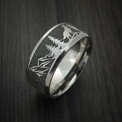 Titanium Ring with Wolf and Mountain Pattern Hunter Band Custom Made - Revolution Jewelry  - 3