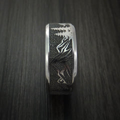 Titanium Ring with Wolf and Mountain Pattern Hunter Band Custom Made - Revolution Jewelry  - 4