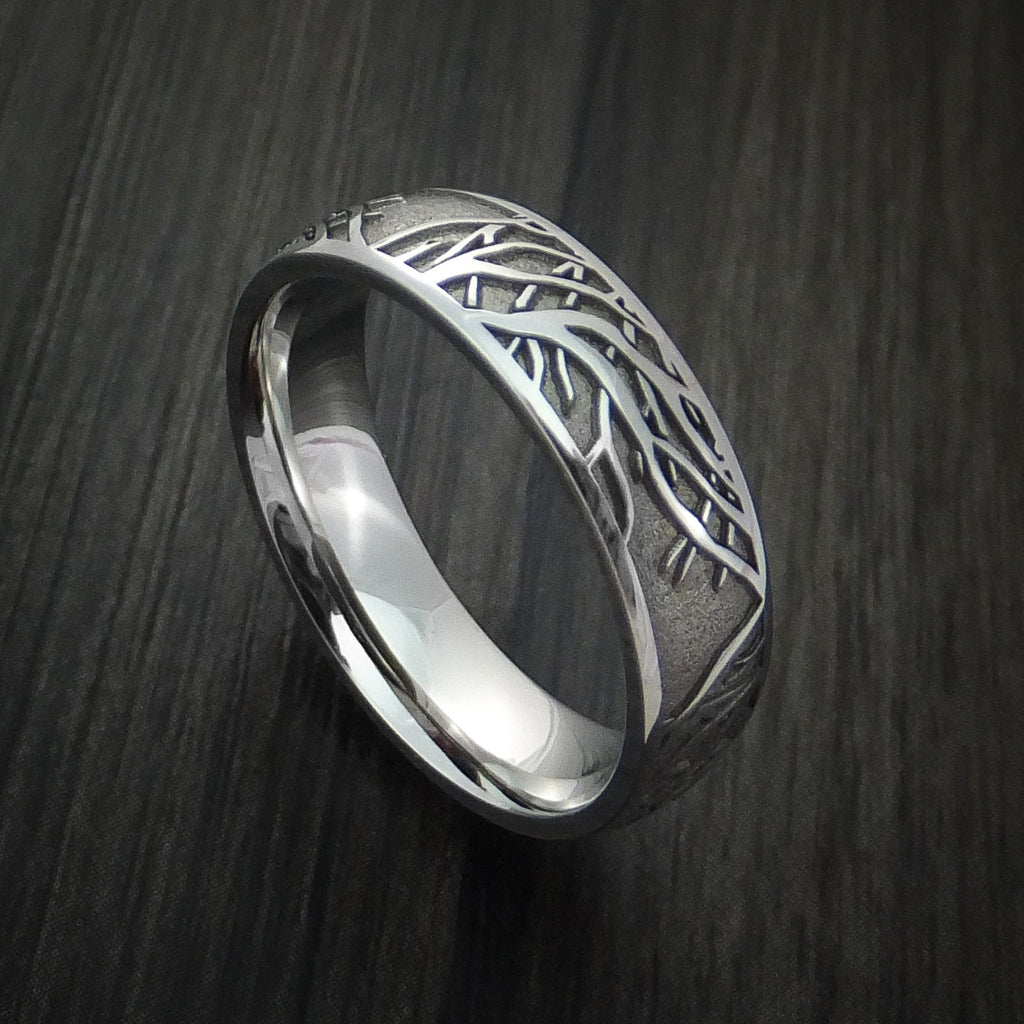 Cobalt Chrome Ring with Tree Branch Pattern Custom Made Band