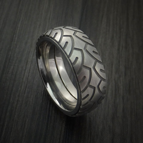 Titanium Bicycle Tire Tread Spinner Ring Custom Made Band