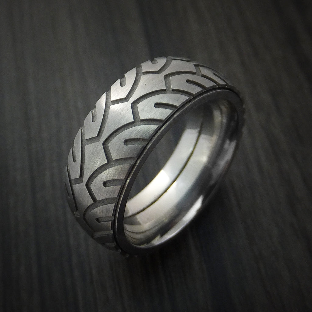 titanium bicycle tire tread spinner ring custom made band tire tread wedding band