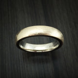14k Yellow Gold Distressed Band with Black Carbon Accents Custom Made