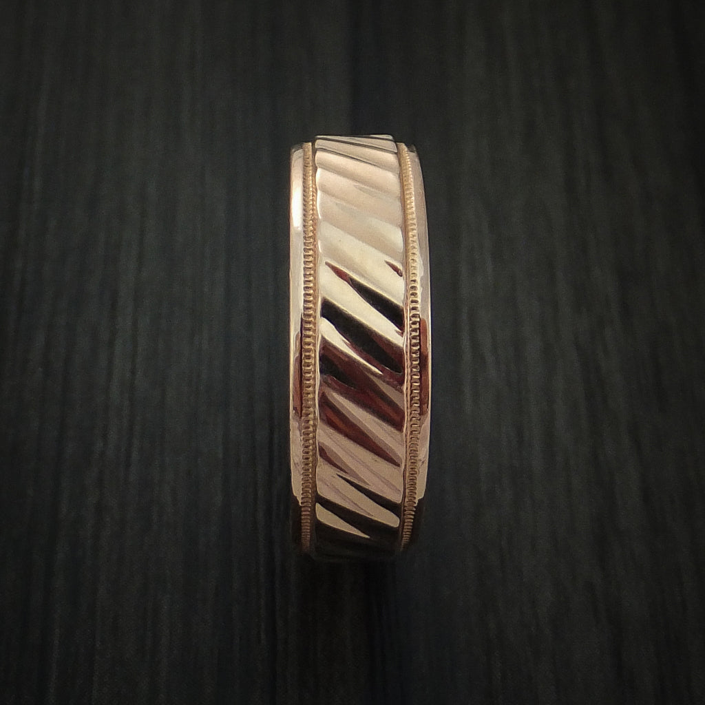 14K Rose Gold Band with Millgrain Edge and Grooved Center Custom Made